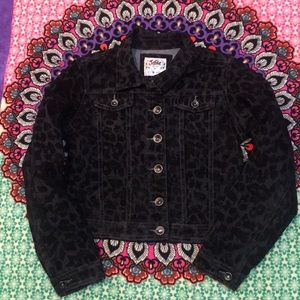 Justice solid black animal print denim jacket 14